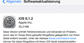 iOS 8.1.2 Update iTunes Klingeltöne